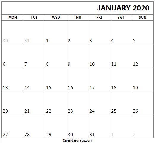 Editable January 2020 Calendar: Editable Calendar January 2020 Template