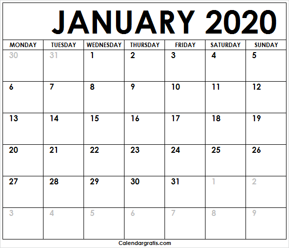 Editable Calendar January 2020 Template: Editable Calendar January 2020 Template