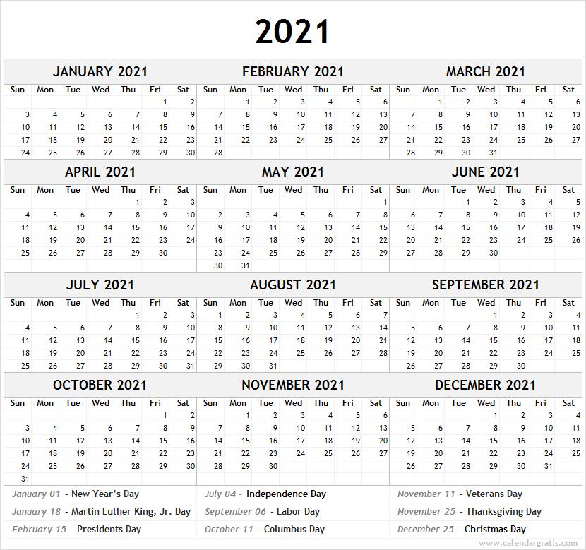 Printable Calendar 2021 Template for School | 2021 2022 ...