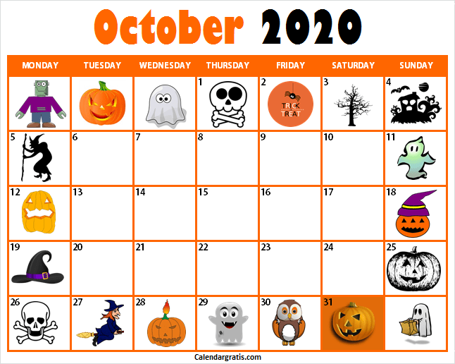 Halloween October 2020 Printable October 2020 Calendar Template with Holidays, Notes
