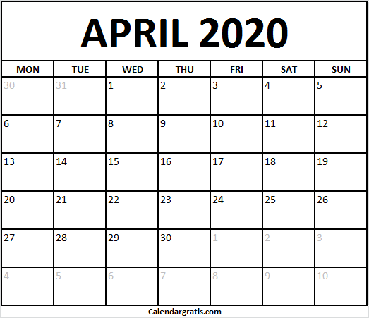 Printable April 2020 Calendar Template With Notes
