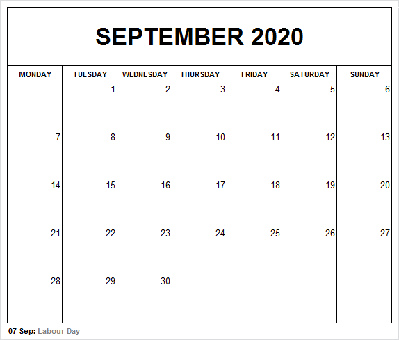 Printable September 2020 Calendar Holidays