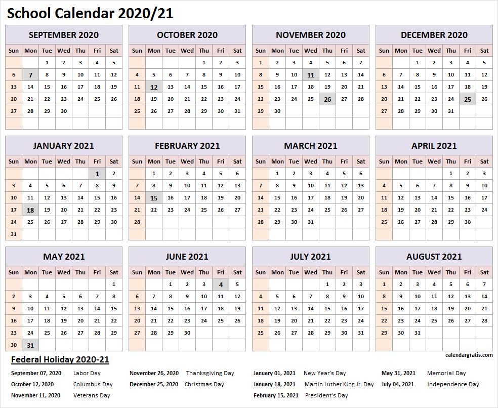 2020-2021 School Calendar Template | Academic Calendar 2020/21