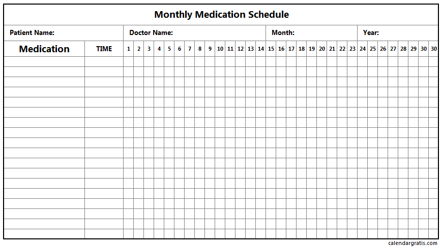 Medication Schedule Template - Daily, Weekly, Monthly ...