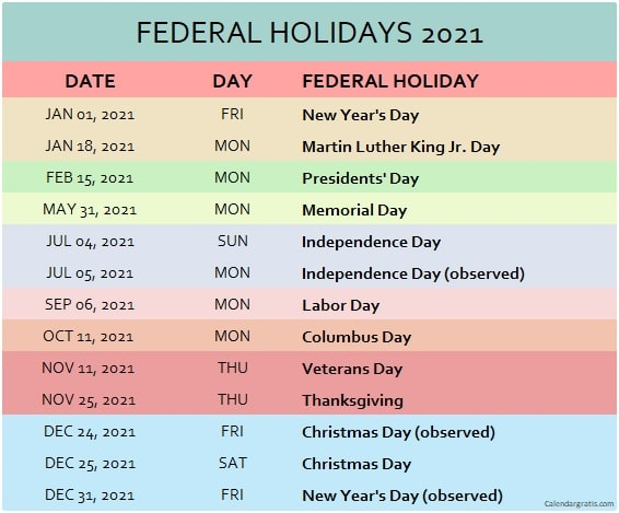 Federal Holidays 2021 Calendar Usa List Of Federal Holidays 2021